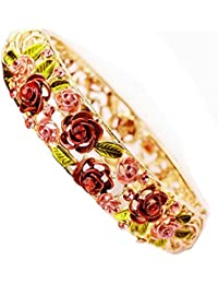 Red Rose Retro Enamel Hollow Handcrafted Gold plating Bangle Bracelet with Swarovski Crystals for mother lady