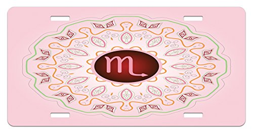 Ambesonne Zodiac Scorpio License Plate, Astrology Theme Sign on an Ornate Oriental Mandala Figure with Pink Backdrop, High Gloss Aluminum Novelty Plate, 5.88 L X 11.88 W Inches, Multicolor