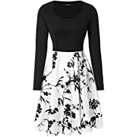 Mixfeer Womens Floral Scoop Neck Long Sleeve Vintage Midi Dress with Pockets