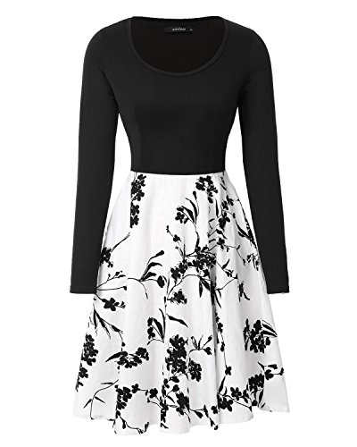 Mixfeer-Womens-Vintage-Midi-Dress-Floral-Scoop-Neck-Long-Sleeve-A-Line-Cocktail-Party-Swing-Dress-With-Pocket