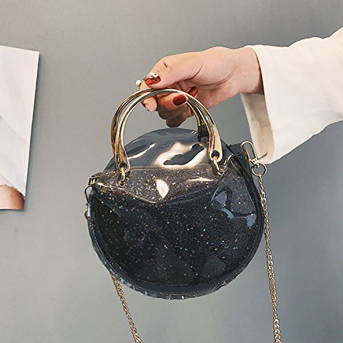 2018 female bag shoulder circle bag Fashion Black bag semi chain transparent Messenger laser ArnwxOqzAI