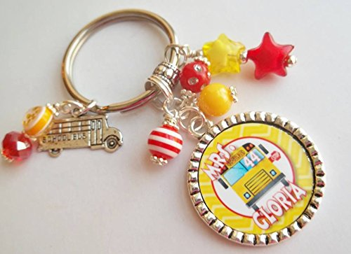(Personalized School Bus Driver Chevron Keychain gift with Name and Bus number Holiday End of School year gift)