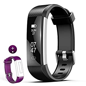 wesoo Fitness Tracker, K1 Fitness Watch: Activity Tracker with Sleep Monitor, Smart Bracelet Pedometer Wristband with Replacement Band for Kids, Women and Men(Purple+Black Band)