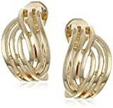 Anne Klein''Endless Clips'' Gold-Tone Open Weave Button Clip-On Earrings