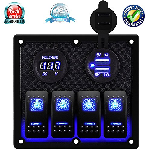 DCFlat Waterproof 6 Gang Toggle Rocker Switch Panel Car Marine Boat Circuit LED Breaker Voltmeter (4 Gang Voltmeter) ()