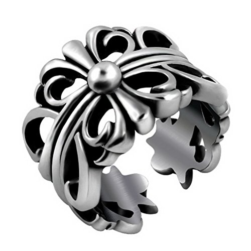 Chrome Cross Ring - Stainless Steel Mens Women's Jewelry Retro Casting Gothic Punk Stainless Steel Cross Chrome Hearts Rings