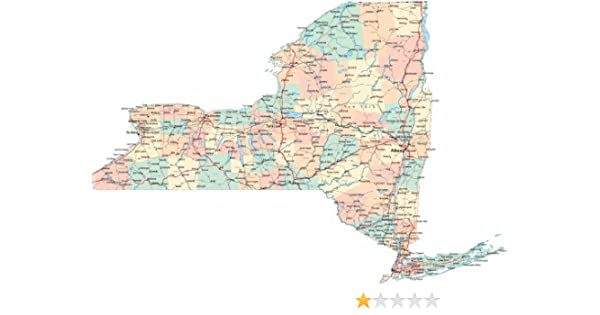 Amazon.com: NEW YORK STATE ROAD MAP GLOSSY POSTER PICTURE ...