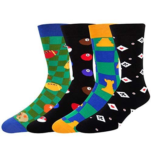 Mens Novelty Poker Dress Socks Funny Dice Chess Colorful Billiards Rugby Cotton Sports Crew Socks 4 - Chess Poker