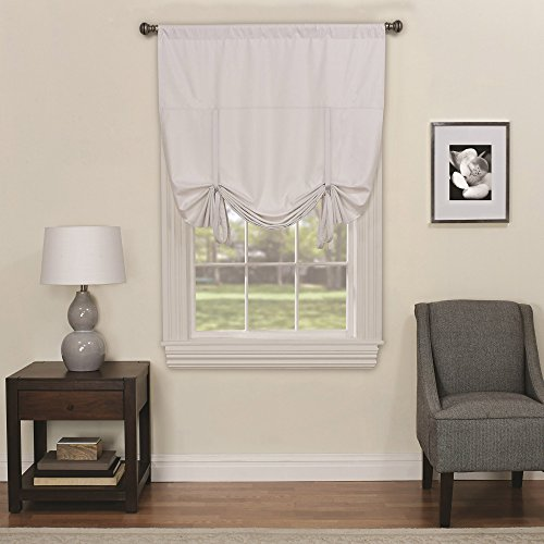 (Eclipse 16170042X063WHI Kendall 42-Inch by 63-Inch Blackout Window Single Tie-up Shade, White)