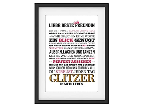 Interluxe Kunstdruck Liebe Beste Freundin Spruch Frau