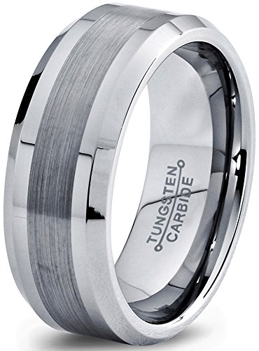 8mm Silver Gray Grey Beveled Edge Brushed Polished Classic Tungsten Carbide Wedding Band Ring for Men Women Comfort Fit Engagement Anniversary Size 13 Commitment Love Chrome Scratchless -