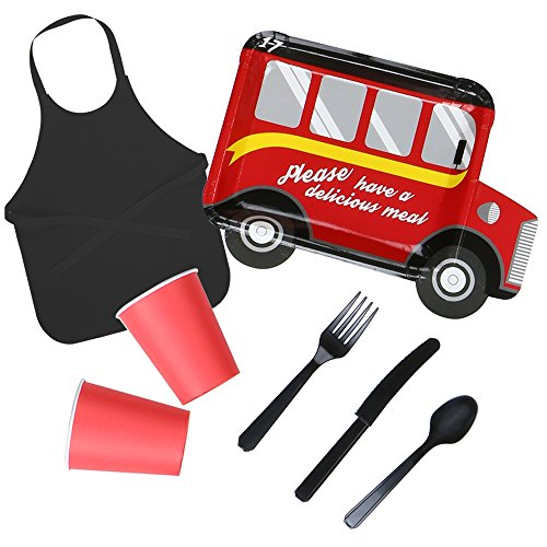 8 Guest Bus Theme Boy's Party Disposable Tableware Set - Plates, Cups, Cutlery, Aprons for Birthday, Indoor & Ourdoor Parties (Red) by Luxcathy