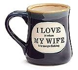 'I Love My Wife' Porcelain 18 oz Fishing Coffee Mug Fun Gift for Our Fisherman