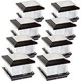 (8 Pack) GreenLighting Solar LED Post Cap Light for 5'' x 5'' PVC Posts w/ Wood Post Adapter (Black)