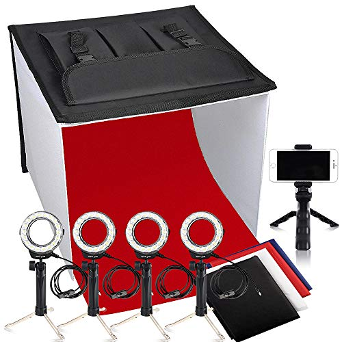 Photo Light Box, FOSITAN K60 24x24 Inch LED Foldable Table Top Portable Photography Box Photo Studio Light Tent (4 x 900lm, 4 x 7W LED Ring Head, 5 x Tripod, 4 x Backdrop, 3200K-5500K-9000K) by FOSITAN