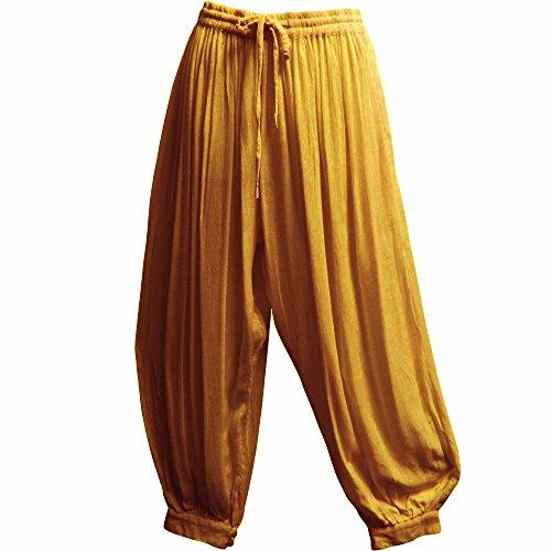 Men's Indian Aladdin Gypsy Hippie Yoga Meditation Harem Pants (P2) (Mellow Yellow) by Yoga Trendz (Image #4)