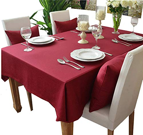 Kingmerlina Cotton Linen Rectangle Polyester Solid Color Modern Tablecloth Multi Sized Multi Size