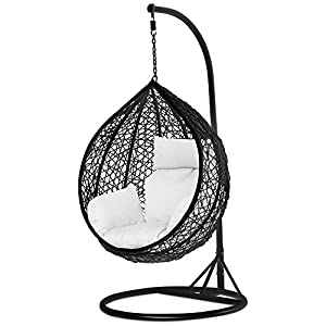Yaheetech-Black-Rattan-Wicker-Garden-Patio-Hanging-Swing-Chair-WCoverStand-and-Cushion945-x-945-x-1945cmL-x-W-x-H