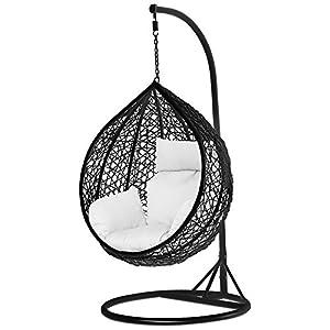 Yaheetech-Black-Rattan-Wicker-Garden-Patio-Hanging-Swing-Chair-WCoverStand-and-Cushion945-x-945-x-1945cmL-x-W-x-H
