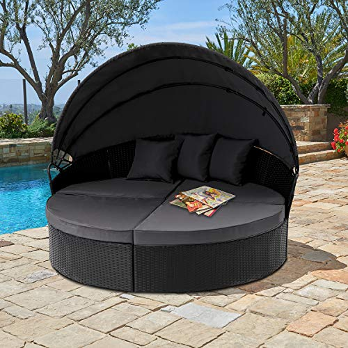SUNCROWN Outdoor Patio Round Daybed with Retractable Canopy | Black Wicker Furniture Clamshell Sectional Seating w/Table | Washable Cushions | Patio, Backyard, Porch, Pool (Outdoor Lounge Bed Cushions)