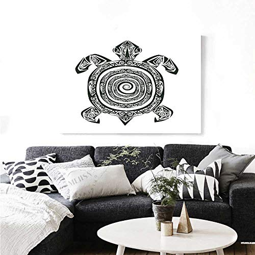 rt Maori Tattoo Style Figure of Sea Animal Tribal Spiral Form Ancient Tropical Print Paintings for Home Wall Office Decor 24
