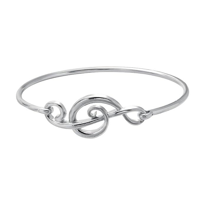 SENFAI Elegant Musical Note Deisgn Bangle Openable Hook Bracelet Bangle Jewellery (Silver Color)