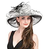 SAFERIN Women Dress Organza Kentucky Derby Church Wedding Wide Brim Polyester Race Top Sun Protection Hat Black and White Flower
