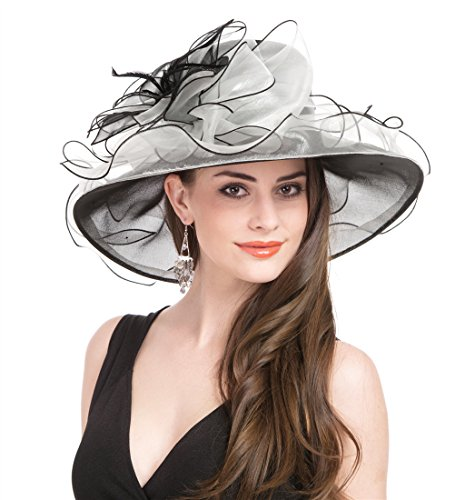 SAFERIN Women Dress Organza Kentucky Derby Church Wedding Wide Brim Polyester Race Top Sun Protection Hat Black and White Flower -