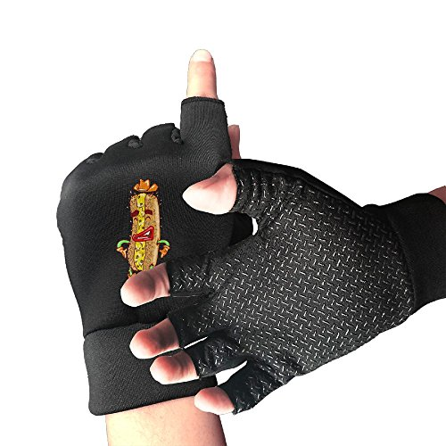 Karen Felix Cycling Gloves Happy Hot Dog Men's/Women's Mountain Bike Gloves Half Finger Anti-Slip Motorcycle Gloves -