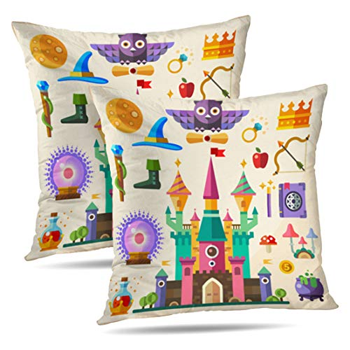HAPPYOME Set of 2 Decorative Throw Pillow Covers Magic and Fairy Tale Castle Flat Owl Ring Crown Staff HatPillow Case Cushion Cover for Bedroom Livingroom Sofa 18X18 Inches
