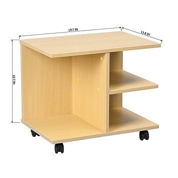 Ihouse - Mesita de noche multifuncional de madera con ruedas y 2 estantes de almacenamiento