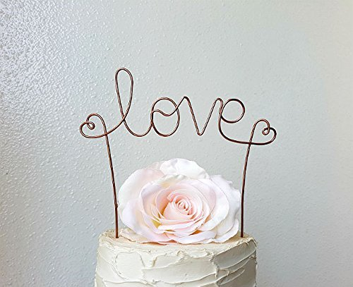 LOVE-Wedding-Cake-Topper-Banner-in-OXIDIZED-COPPER-Brown-Wire-Finish-Wedding-Cake-Decoration-by-AntoArts