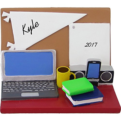 School Personalized (Student Desk with Smart Phone Personalized Christmas Ornament - High School or College Dorm Room - 3.5