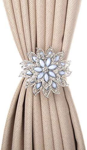 1 Pair Magnetic Flower Curtain Tiebacks Clips Tie Backs Buckle Holdbacks Silver