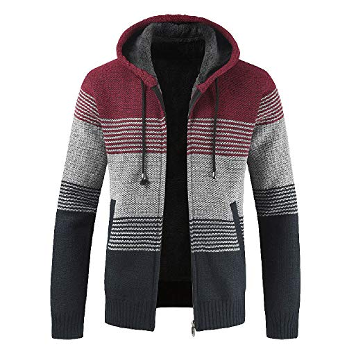 Amazon.com : Fashion Mens Slim Warm Hooded Outwear Stand Collar Knit Cardigan Zip Drawsting Coat Sweater : Sports & Outdoors