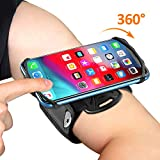 TEUMI Phone Armband, 360° Rotatable Running Phone Holder, Compatible with iPhone 11/11 Pro Max/XR/8 Plus/7, Galaxy Note 10 Plus/Note 10/S10, Universal Adjustable Arm Band for Jogging Gym Hiking