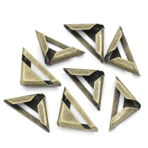 100 Bronze Buchbeschlag Buchecke Metallecke Schutzecke Antikbeschlag 23x17mm