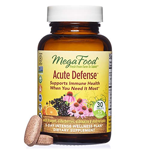 MegaFood - Acute Defense, Supports Immune Health with Vitamin C, Echinacea, and Elderberry, Vegan, Gluten Free, Non-GMO, 30 Tablets