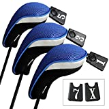 Andux Golf Wood Driver Head Covers Interchangeable No. Tag 3 of Set Mt/mg02 Black & Blue
