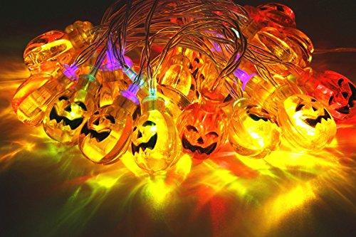 Pumpkin String Lights 30 LEDs 10.33 ft Halloween Jack-O-Lantern Pumpkin Lights for Halloween Christmas Decorations - Battery (Large Outdoor Halloween Decorations)