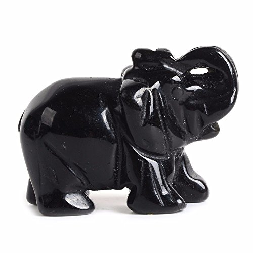 Carved Natural Black Obsidian Gemstone Elephant Healing Guardian Statue Figurine Crafts 2 inch
