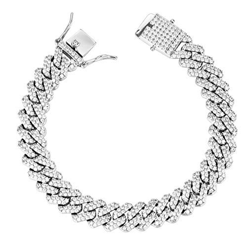 (GOLD IDEA JEWELRY Hip Hop Heavy 14k Gold Plated/White Gold Plated Full Iced Out Miami Cuban Link Chain Necklace & Bracelet 12MM (White Gold Plated, 8.5))