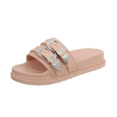 Ital-Design Damenschuhe Sandalen & Sandaletten Pantoletten Synthetik Gold Rosa Gr. 39 9hTzE0s6s