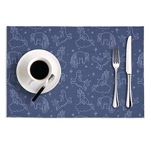 (Quinnteens Washable Table Mats Cute Unicorns Non-Slip Insulation Placemat (2pcs placemats,12x18)