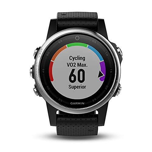 Garmin Fenix 5S Multisport GPS Watch with Outdoor Navigation and Wrist-Based Heart Rate, Silver with Black Band