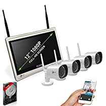 True HD Wireless Security Camera System - LAZYCAT LCWBK10N1 (2017 New Design) Indoor Outdoor Home Surveillance System Including 1TB HDD, 4CH CCTV NVR Built-in Full HD 1080P Monitor & Router