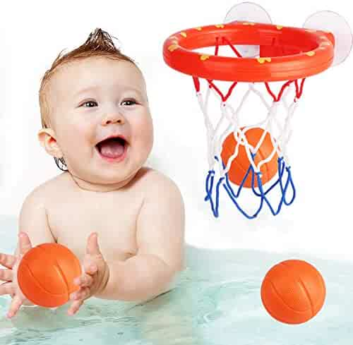 zoordo Bath Toys Bathtub Basketball Hoop Balls Set for Toddlers Kids with Strong Suction Cup Easy to Install,Fun Games Gifts in Bathroom,3 Balls Included