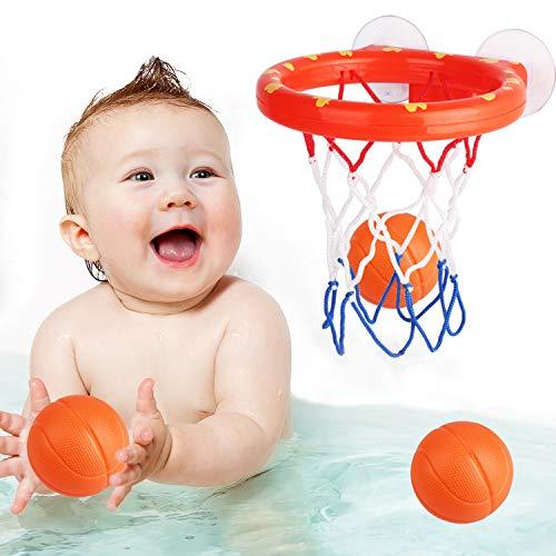 zoordo Bath Toys Bathtub Basketball Hoop Balls Set for Toddlers