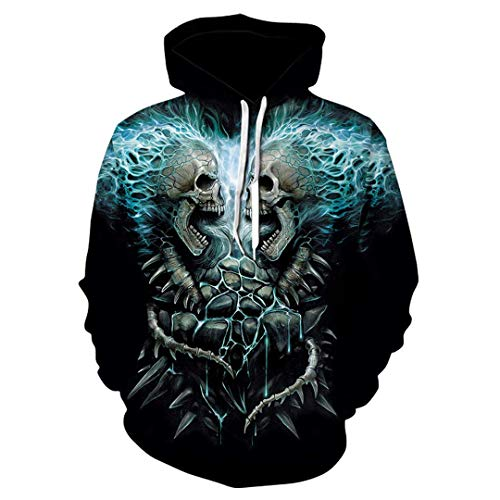 Men Women Casual Cool 3D Print Skull Pullover Gun Warrior Hoodie Print Knife Harajuku Sweatshirts Top Outdoor Outwear Tops 6X ()