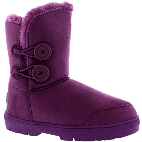 Winter Womens Holly Waterproof Purple Twin Button Snow Boots UBqqx1IOwn